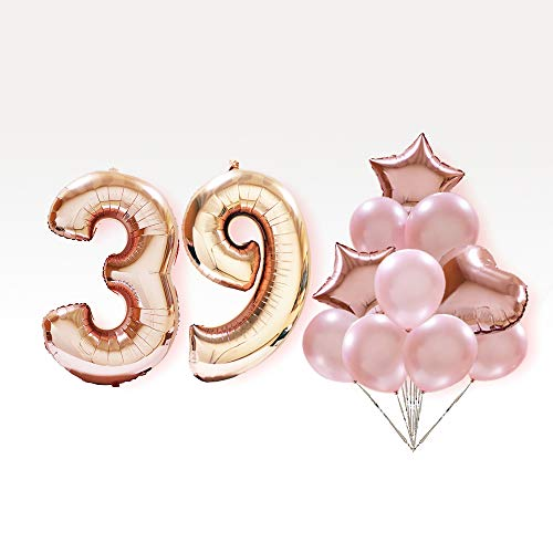 39th Birthday Decorations Party Supplies Balloon Rose Gold 40 Inches Number 39 with Metal Color Balloons for AnniversaryWedding