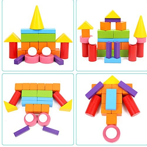 Yalehabi Children's Educational Toys Fairy Building Blocks Tower Game Wooden Stacking Board Games Set for Kids
