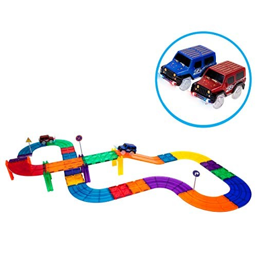 PicassoTiles 30 Piece Race Car Track Building Block Educational Toy Set Magnetic Tiles Magnet DIY Playset 2 Light Up STEM Learning Construction Kit Hand-Eye Coordination Fine Motor Skill Training