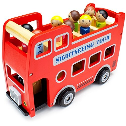 Double-Decker Tour Bus for Kids – Wooden Wheels Large Toy Car with Removable Top