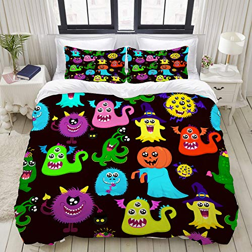 VAMIx Abstract Halloween for Girls or Boys with a Many Bright Monsters Pumpkin one-Eyed Studio Single Apartment Decorate Decorative Custom Design 3 PC Duvet Cover Set Queen