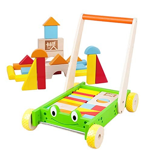 Wooden Baby Learning Walker ToysColorful Building BlocksPush and Pull Toddler Toy for 18 Month
