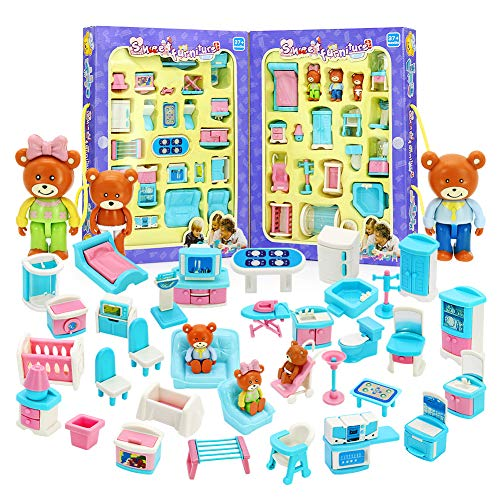 xHAIZ Dollhouse Furniture Play House Toy Premium Plastic Pretend Doll Colorful Portable Accessories for Toddler
