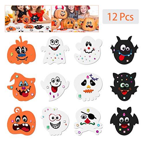 Toyvian Halloween Pumpkin Craft Kit for KidsEVA Foam DIY Decorating with 12 pcs Face Stickers 24 Wiggle Eyes and 81pcs Diamond Games