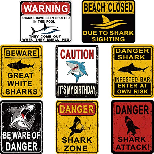 8 Styles Shark Zone Party Decorations Funny Be Ware of Sharks Wall Decor Signs for Birthday Ocean Theme Supplies with Adhesive Design Sticker