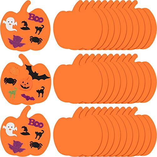 36 Pieces 75 Inches Large Halloween Foam Pumpkins Crafts Supplies Decorative Pumpkin Shaped Stickers for DIY Art Craft Not Self-Adhesive