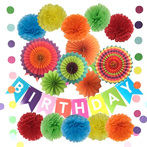 Happy Birthday Decorations Banner with Tissue Pom Poms Paper Flowers Fans and Garlands String Polka Dot – 10 Pcs 6
