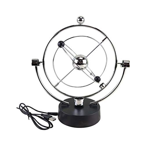LIOOBO Electronic Swing Ball Desk Perpetual Motion Physical Science Toy Kinetic Globe Pendulum Office Home Ornaments Without Battery