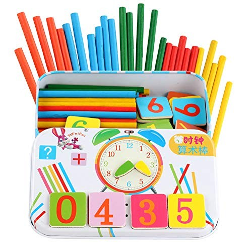 Asdf586io Wooden Magnetic Number Sticks Blocks Math Clock Learning Educational Kids Toy