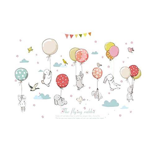 JIUYAODIANZI Cartoon Kid Room Rabbit Balloon Bedroom Kindergarten Decorate Wall Sticker