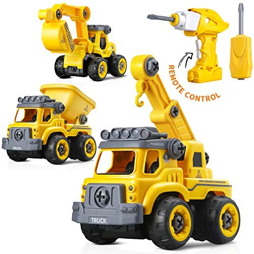 3-in-1 Take Apart Toy with Electric Drill and Screwdriver Stem Learning Building Vehicle Play Truck Toys Assembly Early Educational Best to Boys Gift for Kid Age 3 & Up