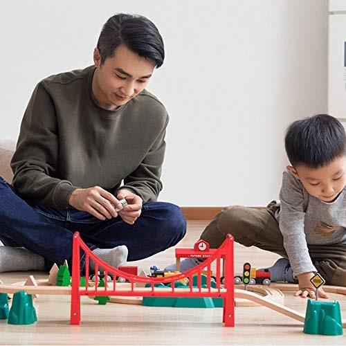 HU Track Building Block Train Electric car Children's Toys Wooden Blocks