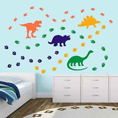 Creative Dinosaur Wall Decals DIY Adorable Animal Footprints Sticker for Kids Room Classroom Decoration OrangeBlueYellowGreen 74 Pcs