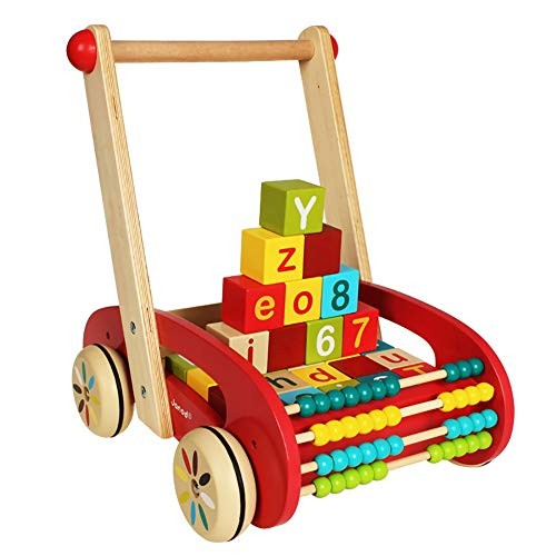 Wooden Baby Learning Walker ToysColorful Building BlocksAbacusPush and Pull Toddler Toy for 18 MonthEarly Dvelopment