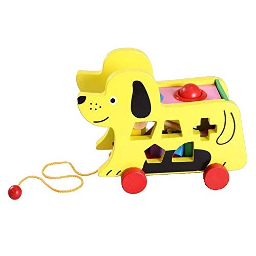 xINGxIANYIGOU Unique Building Block Toy Wooden Fun Puppy Trailer Shape to Stimulate Children's Imagination Suitable for 0~8 Years Old Gift Set