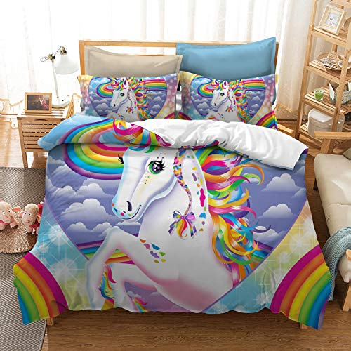 YOMIMAx Unicorn Bedding 2 Piece Decorate Girl Set Cartoon Pink Colorful Comforter Cover Cute Duvet Covers for Teens King