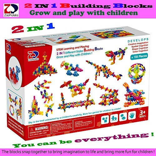 ZP ZaoProteks 2 in 1 Building Blocks STEM Toys Educational Grow and Play with Rod+Sheet