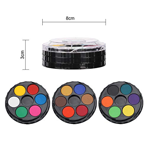 IBLUELOVER Watercolor Paint Set Rich Pigments 18 Colors 3 Layers Rotatable in Sketchers' Pocket Box- Each Palette Contains 6 Different Vibrant for Kids Adults Painting Coloring