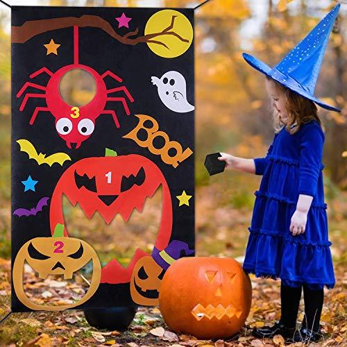 B bangcool Pumpkin Bean Bags Toss Game Halloween Carnival Parties Games Outdoor Fun Acivities for Kids and Adults Red