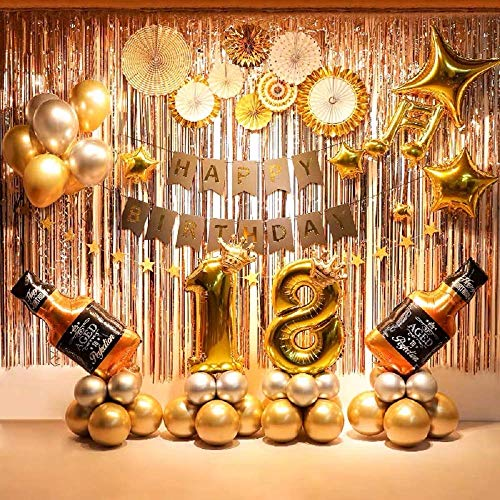 18th Birthday Decorations Party Supplies Gold and Champagne Balloons Banners Paper Fan Flowers Curtains for Photo Backdrop dcor 79 Pcs Supplies