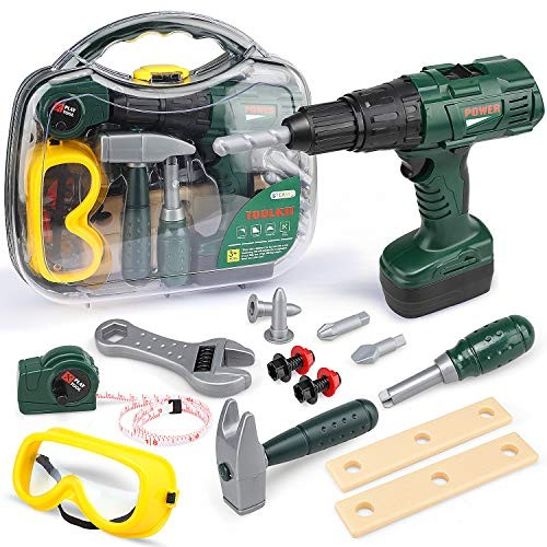 STEAM Life Kids Tool Set with Power Toy Drill Contains Box and Hammer Goggles 11 More Play Tools