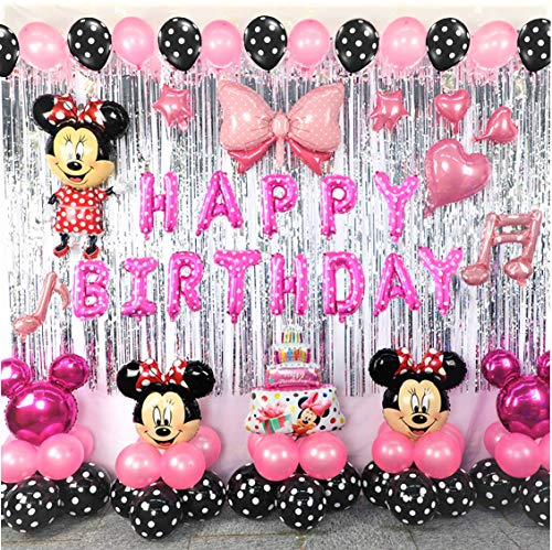 Minnie Theme Birthday Party Decorations Supplies Mouse Balloons Set Including Inflatable Ear Headbands Polka Dots