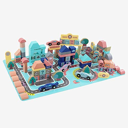 161 Pcs Wooden Building Blocks Set with Carrying Bag and ContainerStacking Block Educational Toy for ToddlersSpeedway ThemeBoys & Girls Above 3 Years Old