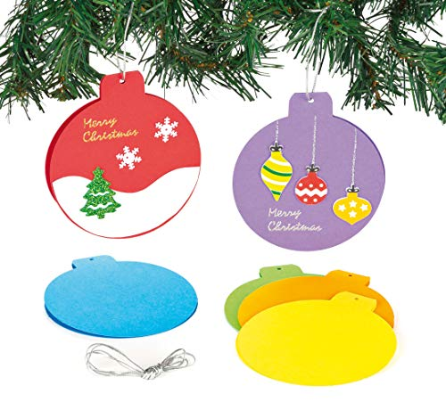 Baker Ross Colored Bauble Card Blanks for Children to Decorate and Hang on Christmas Tree Pack of 6