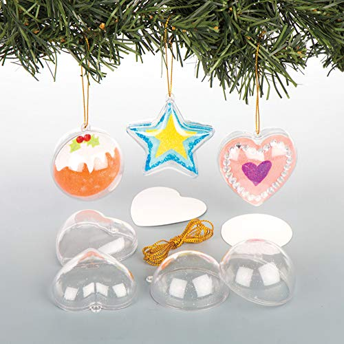 Baker Ross Hanging Glitter Baubles for the Christmas Tree Creative Art and Craft Supplies Kids to Make Personalise Decorate Pack of 9