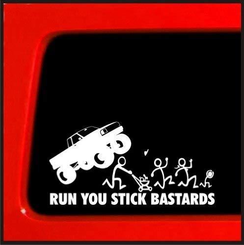 Zizu store – 2pcs Black White Yetaha Car Sticker RUN U STICK BASTARDS SNIPER Family Kayak Canoe Art Wall Die Cut Vinyl Decal Moto Decorate