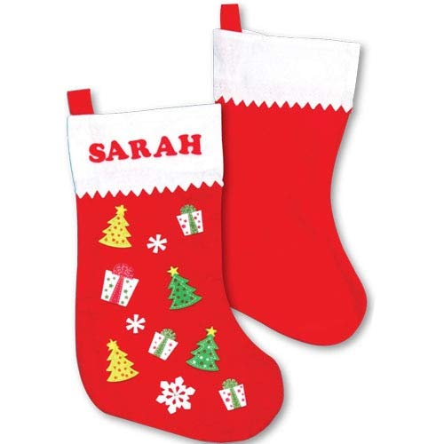 Baker Ross Large Felt Christmas Stockings Creative Arts and Crafts for Kids to Decorate Embellish Personalise Pack of 3