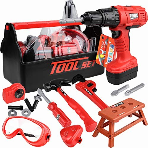 STEAM Life Kids Tool Set with Power Toy Drill – Contains Box and Hammer Goggles 11 More Play Tools Red