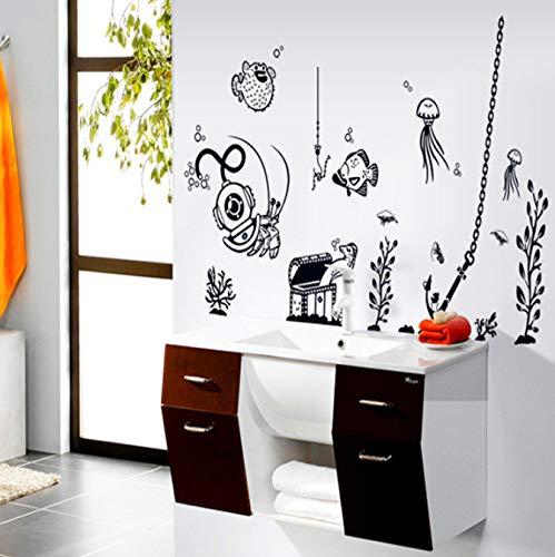 Underwater World Monochromatic Children Room Wall Post Sitting TV Setting decorates a Stickers