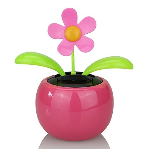 LAPUTA Solar Power Desk Toy Interior Decoration Powered Dancing Flower Flip Flop Leaves Car Display Dashboard Gift – Pink