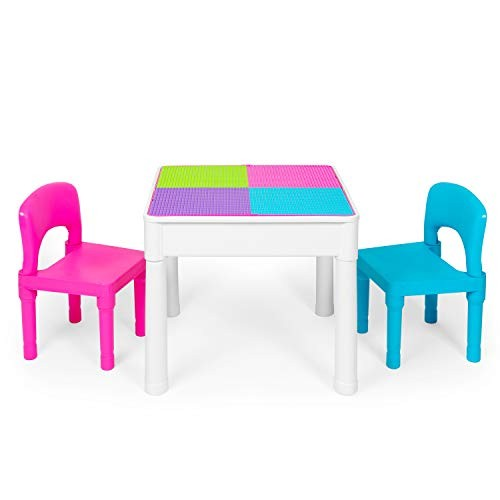 Kids Activity Table Set – 5 in 1 Water Building Block Craft and Sensory with Storage Includes 2 Chairs 25 Ex-Large Blocks Pastel Colors