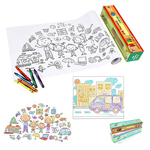 Hobmall Coloring Games Kids Activity Papers With 15Ft 475mGroup Wall Table  Easy Poster 6pcs Crayons2pack Family Cars For Boys Girls Age 3+ -  Educational Toys Planet