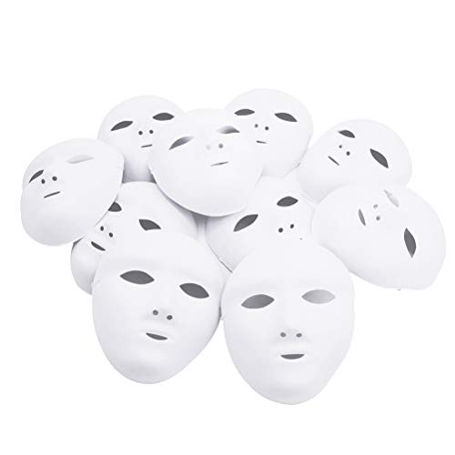 12pcs Female Full Face Halloween Costumes DIY Blank Painting Mask Hip-Hop Dance Ghost Cosplay Fancy Dress Masquerade Party