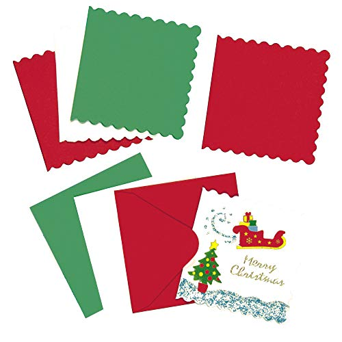 Baker Ross Mini Festive Colors Christmas Greeting Card Blanks Pack of 20 for Children to Decorate and Embellish
