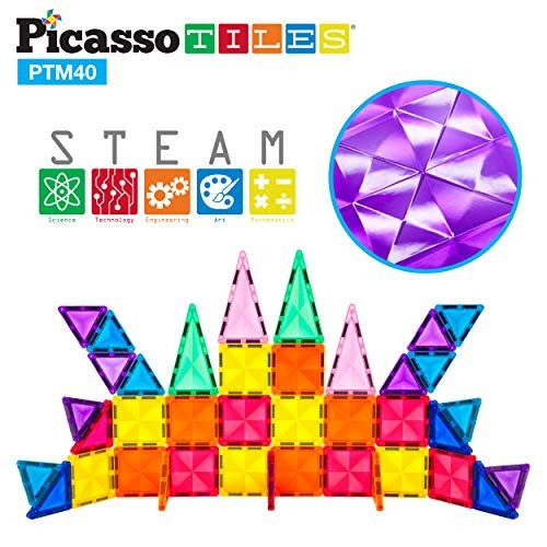 PicassoTiles 40 Piece Magnetic Building Block Mini Diamond Series Travel Size On-The-Go Magnet Construction Toy Set STEM Learning Kit Educational Playset Child Brain Development Stacking Blocks PTM40