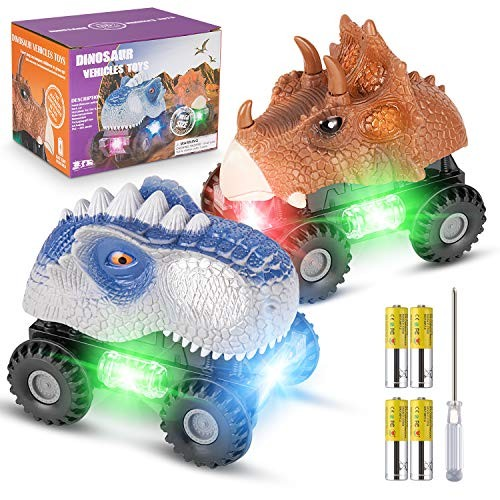 RenFox Dinosaur Cars with 4 Batteries and 1 Screwdriver 2 Pack Dino Cars for