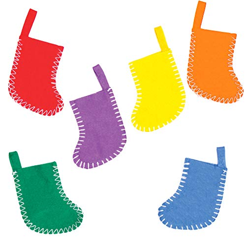 Baker Ross Ex6726 Mini Felt Coloured Stockings for Children to Decorate and Display As Winter Christmas Crafts or Offer a Gift Pack of 6 Assorted