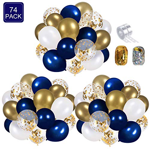 Navy Blue and Gold Confetti Balloons Party Decoration Supplies 70pcs 12 inch Metallic Pearl White for Baby Shower Wedding Graduation Bachelorette Birthday Decorations with 2 Balloon Strips Foil Ribbon