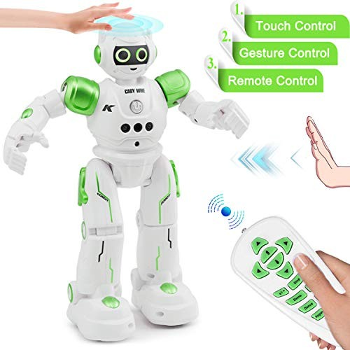 YITOOK Robot Toys for Kids – Rc Smart Programmable Remote Control Robots Rechargeable with Gesture SensingWalkingTalkingSingingDancing Intelligent Toy Gift Green