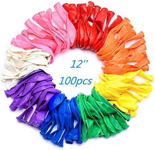 Wensty Party Balloons 12 Inches Rainbow Set 100 Pack Assorted Colored Bulk Made With Strong Latex For Helium Or Air Use Birthday Decorations