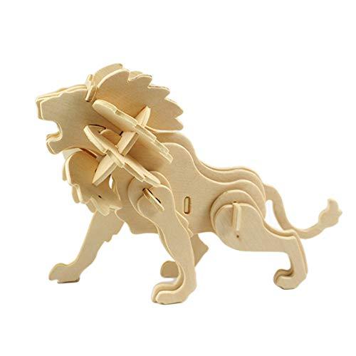bromrefulgenc Intelligence Toy for Toddler3D Puzzles ToyWooden Blank DIY Animal Crafts Model Kits Kids Education Gift Lion