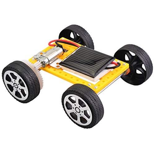 Miklan Solar Car DIY Assemble Toy Set Powered Kit Educational Science for Kid Yellow