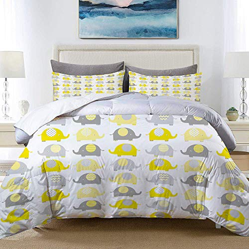 ALLMILL Yellow and Grey Cute Elephant Collection Cartoon Animals with Different Patterns Studio Single Apartment Decorate Decorative Custom Design 3 PC Duvet Cover Set Queen Full