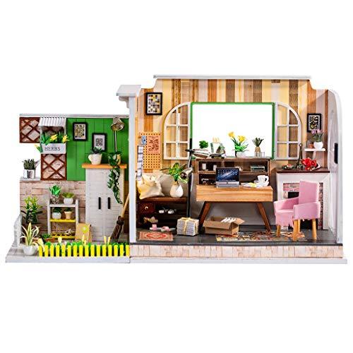 Naladoo DIY Miniature House Furniture LED Puzzle Decorate Creative Educational toy