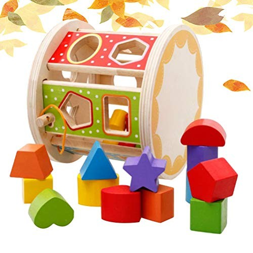 Wooden Toy Block Colorful Geometry Nontoxic Durable Building Blocks for Early Education Cognitive Trainig Kids