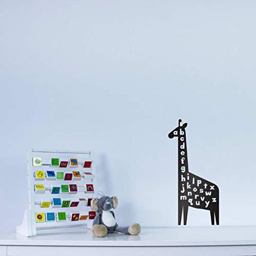 wwttoo Giraffe Alphabet Wall Art Decal for Kids Baby Nursery Vinyl Stickers Bedroom Living Room Decorate Animal Decals 42x88Cm